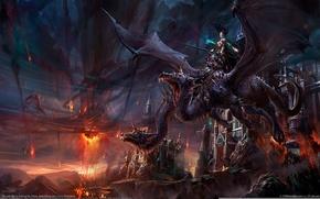 Обои Дракон, Замок, Воительница