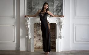 Картинка девушка, поза, модель, интерьер, фигура, платье, брюнетка, light, камин, white, sexy, studio, талия, young, beauty, …