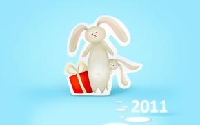 Обои подарок, Новый год, зайцы, new year, 2011