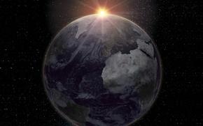Картинка light, Europe, sun, Africa, oceans, Planet Earth