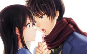 Картинка девушка, аниме, шарф, арт, пара, парень, конфета, двое, за гранью, nase mitsuki, yue, kyoukai no …