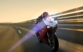 Обои Мотоцикл, Ducati, Красный, Свет, Скорость