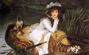 Картинка взгляд, девушка, лодка, собака, Картина