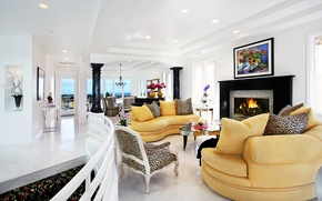 Картинка дизайн, мебель, вилла, интерьер, камин, гостиная