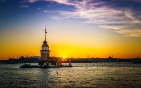 Картинка небо, облака, закат, остров, Стамбул, Турция, пролив Босфор, Девичья башня