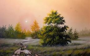 Картинка дорога, осень, лето, туман, картина, вечер, утро, после дождя, живопись, Ходюков, распутица, лирический пейзаж