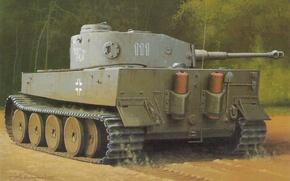 Картинка рисунок, танк, немецкий, PzKpfw VI, WW2, тяжёлый, первого, первой, батальона, роты, (эмблема «Слон»), тяжёлого танкового, …