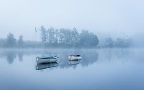 Картинка туман, озеро, лодки