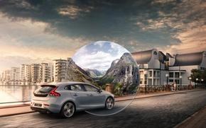 Картинка дорога, небо, мост, дом, серый, volvo, вольво, универсал, в40, v40