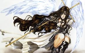Картинка крылья, ангел, аниме, арт, посох, плащ, двушка, alexiel, обитель ангелов, angel sanctuary, kaori yuki