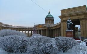 Картинка зима, город, Санкт-Петербург, собор, Казанский собор