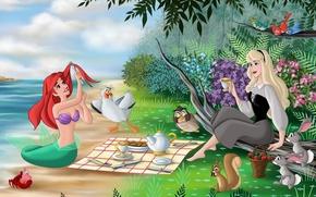 Обои цветы, flowers, Walt Disney, фанарт, русалка, fanart, зайцы, море, птицы, trees, Спящая красавица, princess, чаепитие, ...