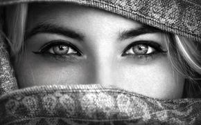 Картинка глаза, взгляд, девушка, шарф, платок, чёрно белое фото