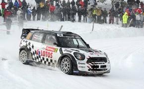 Картинка Белый, Снег, Люди, Гонка, Mini Cooper, WRC, MINI, Мини Купер