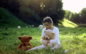 Картинка девушка, настроение, игрушки