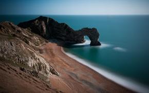 Картинка песок, море, трава, вода, скала, камни, океан, скалы, холмы, берег, побережье, камень, англия, ворота, арка, …