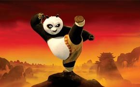 Обои взгляд, kung-fu, удар, стойка, Кунг-фу панда 2, красное, мультфильм