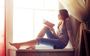 Картинка девушка, окно, книга, Xenia