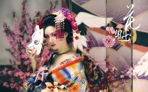 Картинка девушка, маска, азиатка