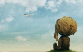 Обои самолет, медведь, рисунок, облака