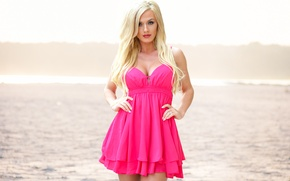 Обои лето, взгляд, девушка, лицо, волосы, платье, блондинка, Aida Ridic