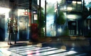 Картинка город, девушки, дождь, дома, аниме, арт, светофор, фонари, vocaloid, hatsune miku, kagamine rin, suppakarn prakobkij, …