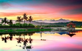 Картинка облака, горы, озеро, рассвет, джунгли, Китай, беседка