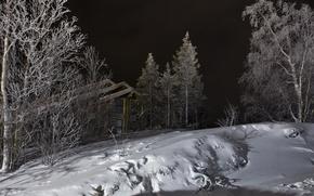 Картинка зима, снег, ночь, дом