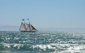 Картинка sea, morning, tall ship