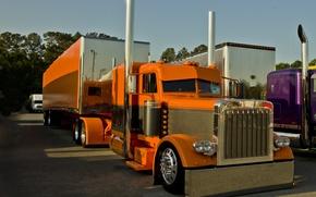 Картинка custom, truck, parking, peterbilt