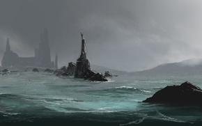 Картинка море, туман, скалы, арт, трезубец, скульптура