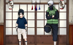 Картинка naruto, Sasuke Uchiha, shinobi, genin, jounin, Kakashi Hatake