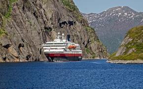 Картинка море, скалы, Норвегия, круизный лайнер