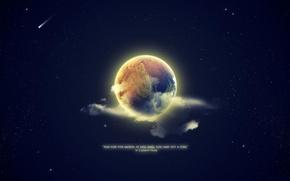 Картинка звезды, фон, земля, обои, луна, планета, цитата, высказывание
