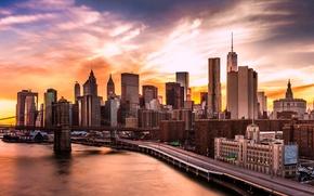 Картинка lights, USA, river, sky, bridge, sunset, New York, Manhattan, Brooklyn Bridge, skyscrapers, harbour, East River