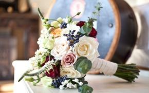 Картинка цветы, праздник, розы, букет