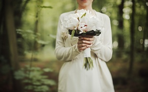 Картинка цветы, букет, белые, пионы, свадебный