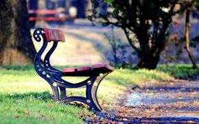 Картинка зелень, осень, трава, листья, деревья, скамейка, парк, фон, дерево, widescreen, обои, настроения, листва, лавочка, лава, ...