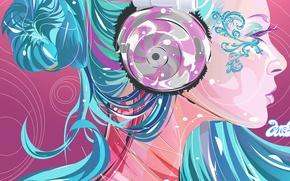 Картинка цвета, девушка, яркие, Вектор, наушники, профиль, синии волосы