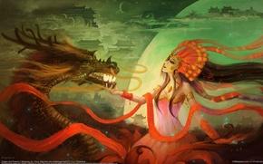 Обои девушка, облака, дракон, здания, шар, перья, арт, рога, сфера, mingsong jia