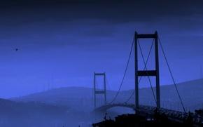 Обои синий, мост, река