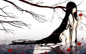 Картинка вода, девушка, цветы, дерево, волосы, ветка, kara no shoujo