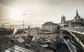 Картинка город, дома, архитектура, Switzerland, Lausanne, Pont Bessières