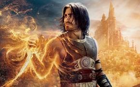 Обои песок, город, огонь, кино, башни, кинжал, Prince of Persia, Принц Персии, солнечные лучи, купола, Пески ...