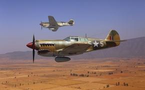 "Картинка небо, арт, истребители, ВВС Великобритании, WW2, американские, Curtiss P-40, (""Kittyhawk""), Кёртисс P-40, ""Tomahawk"""