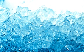 Картинка лед, вода, макро, синий, голубой, кубики