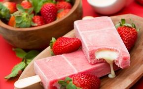Картинка мороженое, десерт, dessert, сладкое, ягоды, berries, ice cream, sweet, fresh, клубника
