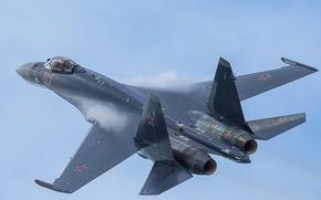 Картинка Су-35, небо, полёт, многоцелевой, сверхманевренный, реактивный, истребитель