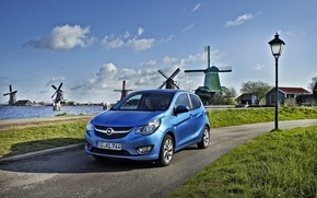 Обои фото, Небо, Дорога, Мельница, Голубой, Opel, Автомобиль, 2015, Karl