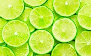 Картинка свежесть, еда, вкус, размытость, зеленые, лайм, фрукты, цитрусы, витамины, ломтики, ням-ням, дольки, боке, lime, сочные, …